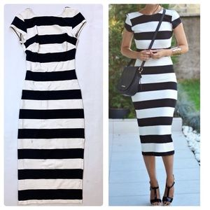 Zara Bodycon Midi Dress Striped Black White XS